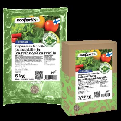 Orgaaninen lannoite tomaatille ja kasvihuonekasveille