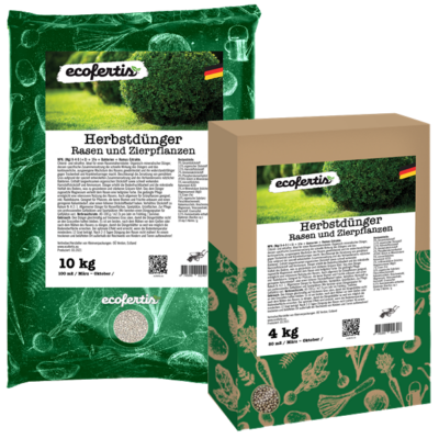 Ecofertis Herbstdünger Rasen und Zierpflanzen – NPK Rasendünger mit Langzeitwirkung für maximale Winterhärte, Rasendünger Herbst unbedenklich für Haustiere, Herbstdünger, 10kg